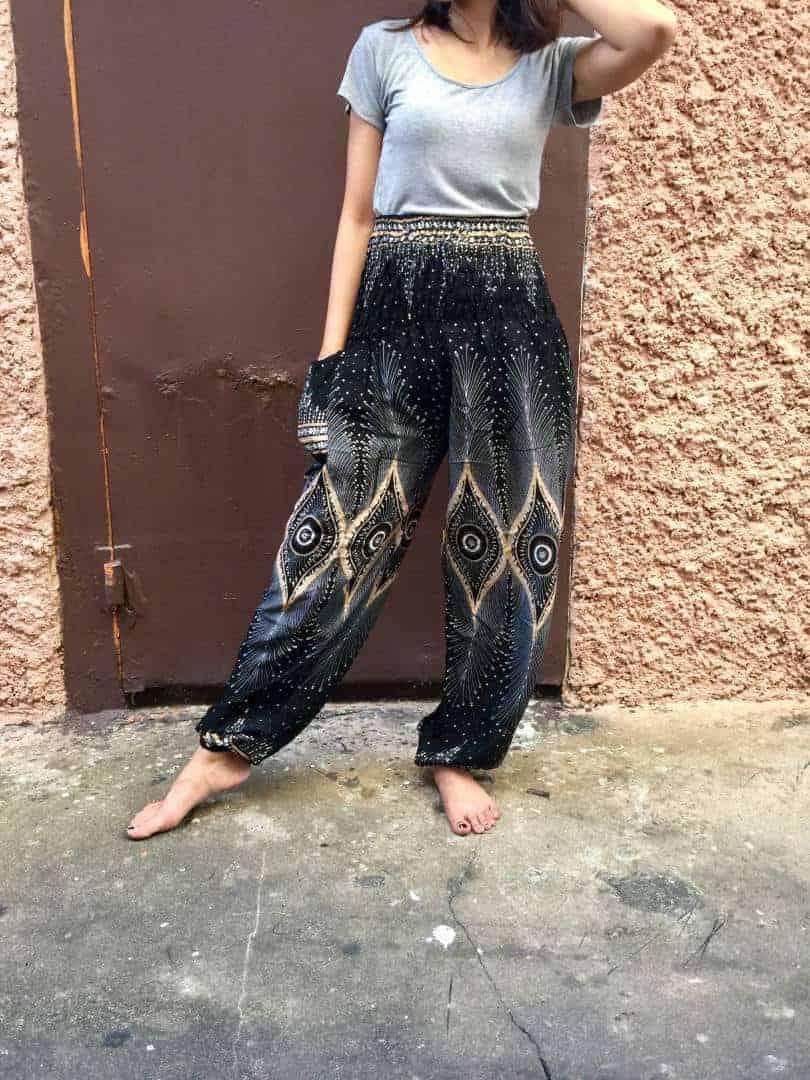 Boho Pants Aztec Slim cut fit legs Women Casual Fashion Tribal Geometric Unique print Hippie Clothing for Summer for Wanderer Thailand