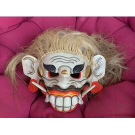 Barong lion mask from Bali, white and red makeup-