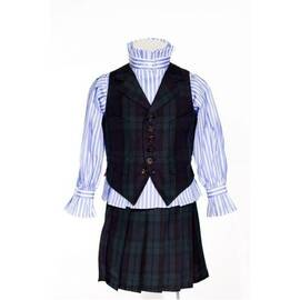 Gawain-suit vest in blue and green plaid standard cut-