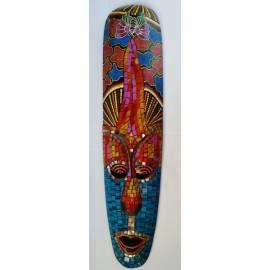 Masque aborigène 50cm avec mosaïques bleues de Bali-