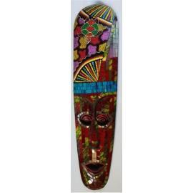 Masque aborigène 50 cm avec mosaïques rouges, bleues et jaunes de Bali-