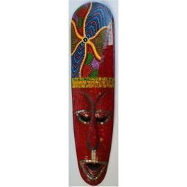 Masque aborigène 50cm avec mosaïques rouges de Bali-