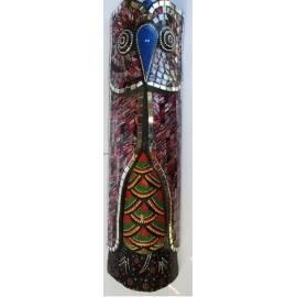 Masque aborigène hibou avec mosaïques vertes magnifiquement fabriqué à la main-