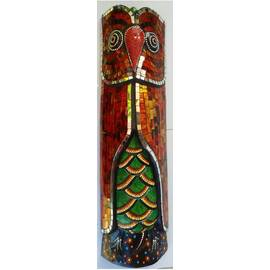Aborigen Owl Mask 50cm with Red Mosaics beautifully hand-crafted-