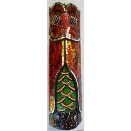 Masque de hibou aborigène 50 cm avec mosaïques rouges magnifiquement fabriqué à la main-