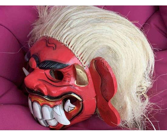 Barong lion mask from Bali, white yellow hairs and red makeup-
