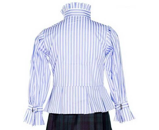 Calista-Blue and white striped Blouse-