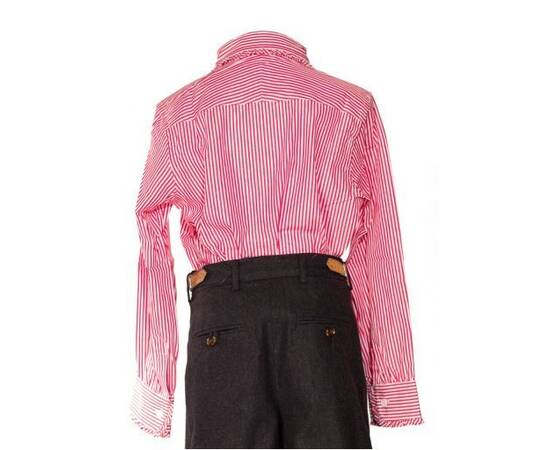Cassandra-red and white striped blouse with claudine collar and frowns-
