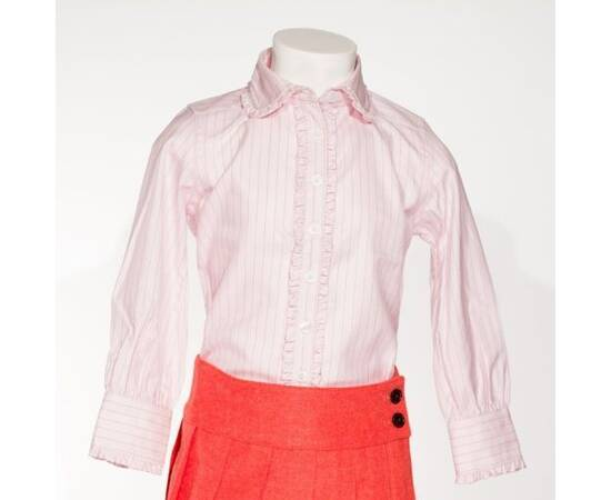 Claudia-pink and black striped blouse with claudine collar and frowns-