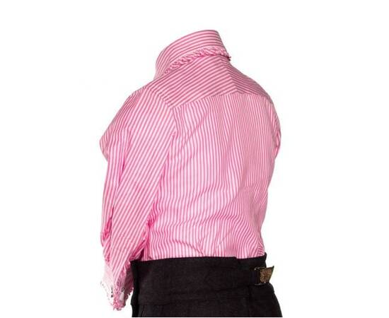 Clemency-pink and white striped blouse with claudine collar and frowns-