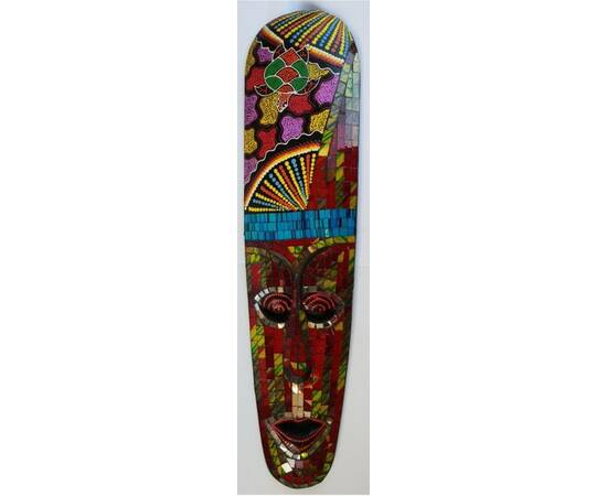 Aborigen Mask 50cm with Red, Blue, and Yellow Mosaics from Bali-