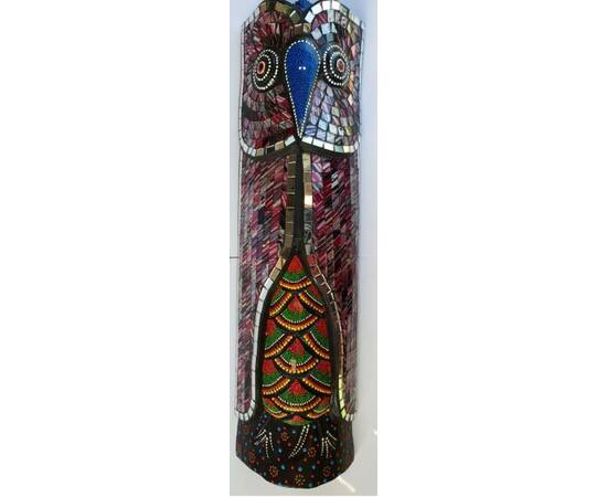 Aborigen Mask Owl with Green Mosaics beautifully hand-crafted-